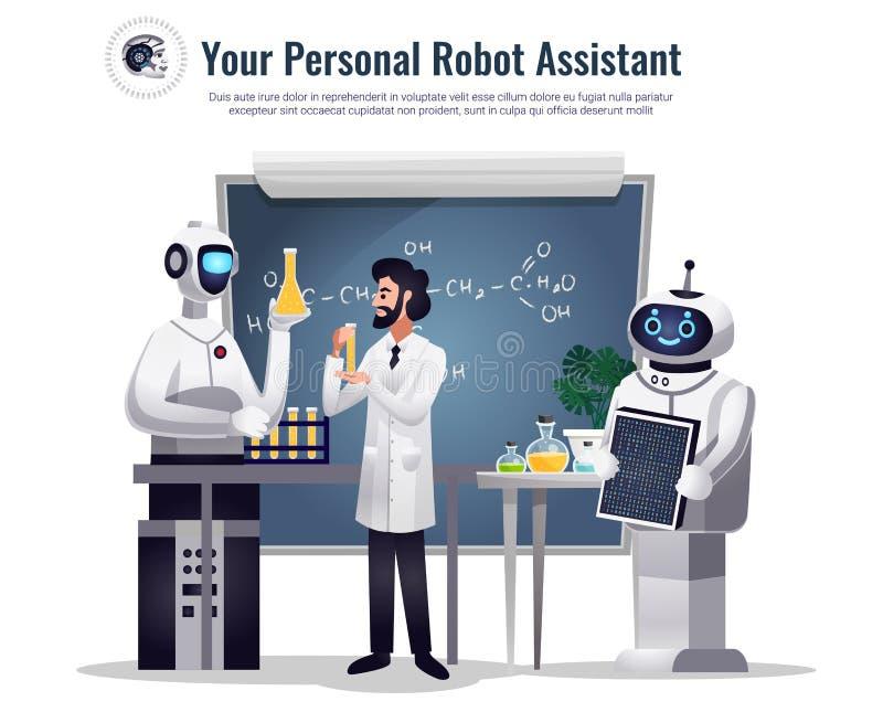 Samenstelling van het robots de Wetenschappelijke Onderzoek stock illustratie