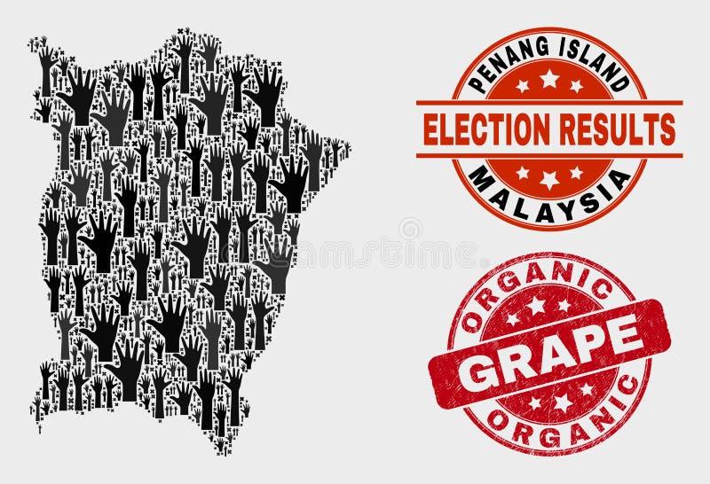 Samenstelling van het Stemmen van Penang-Eiland over Kaart en Gekrast Organisch Druivenwatermerk vector illustratie