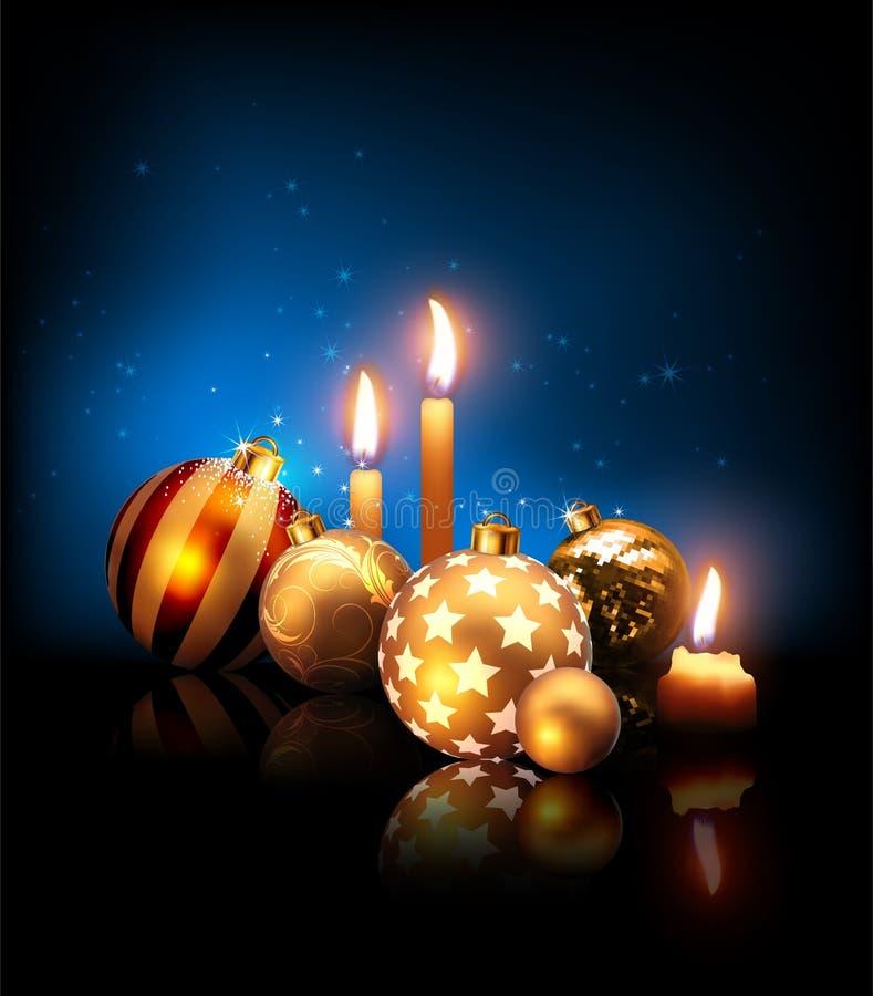 Samenstelling van Kerstmisballen en kaarsen op een donkerblauwe backgr vector illustratie
