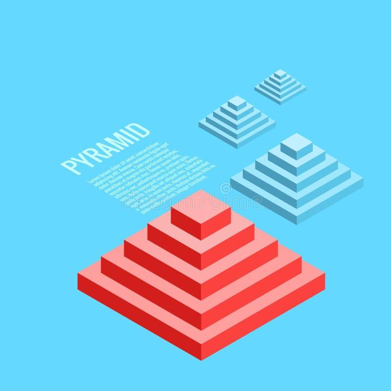Samenstelling van piramides op een blauwe achtergrond royalty-vrije illustratie