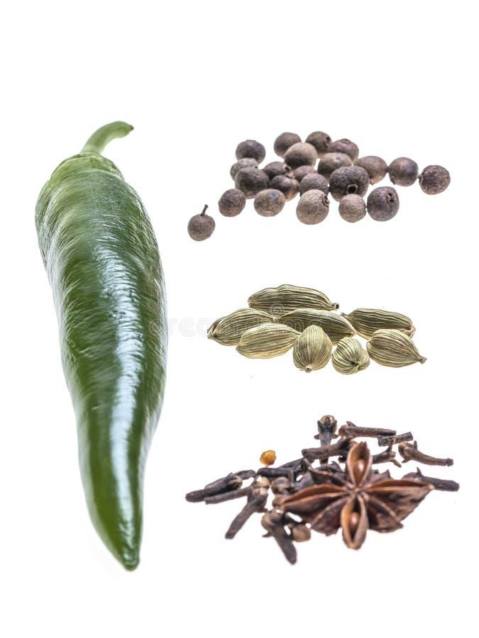 Samenstelling van Spaanse pepers peper en kruid royalty-vrije stock afbeelding