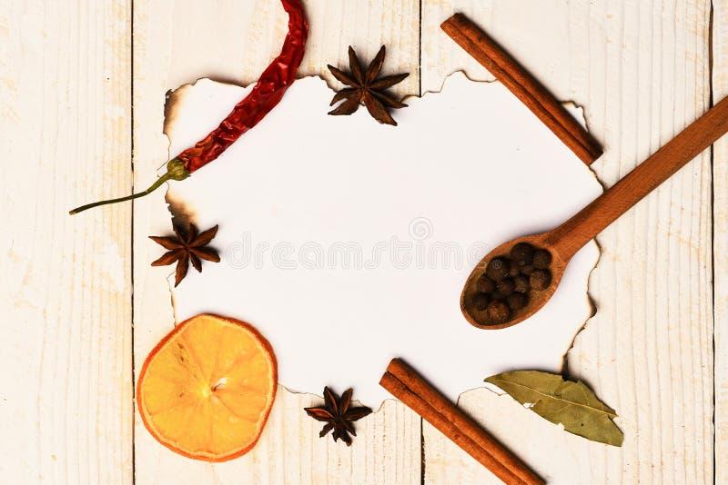 Samenstelling van specerij op document stuk Reeks droge kruiden royalty-vrije stock afbeeldingen