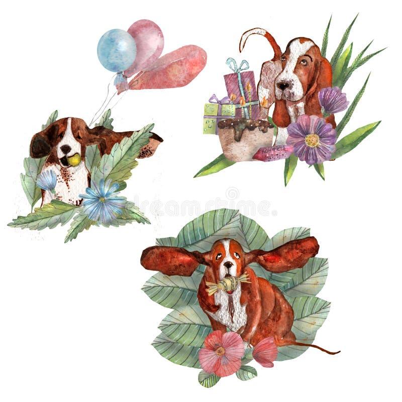 Samenstellingen met vossen, bomen en bladeren vector illustratie
