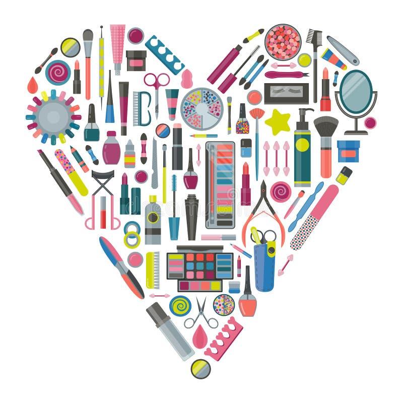 Samenstellings Kosmetische Hulpmiddelen Kit Set vector illustratie