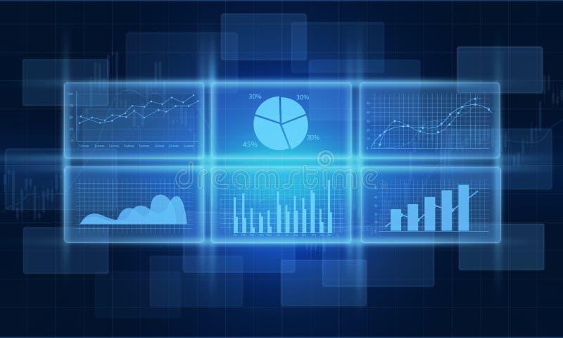 samenvatting, analyse, achtergrond, blauw, zaken, grafiek, computer, concept, munt, gegevens, ontwerp, economisch diagram, uitwis stock illustratie