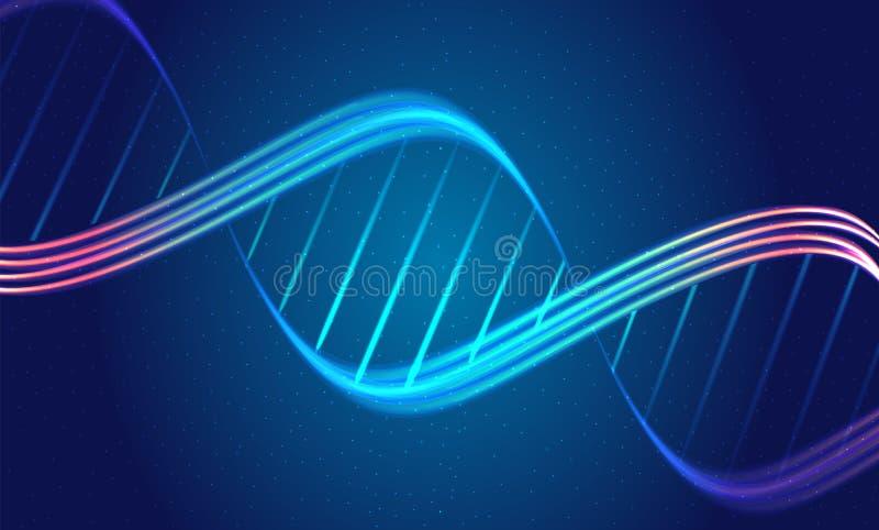 Samenvatting backgrouns met de spiraalvormige gloeiende lijnen van DNA op de donkerblauwe achtergrond stock illustratie