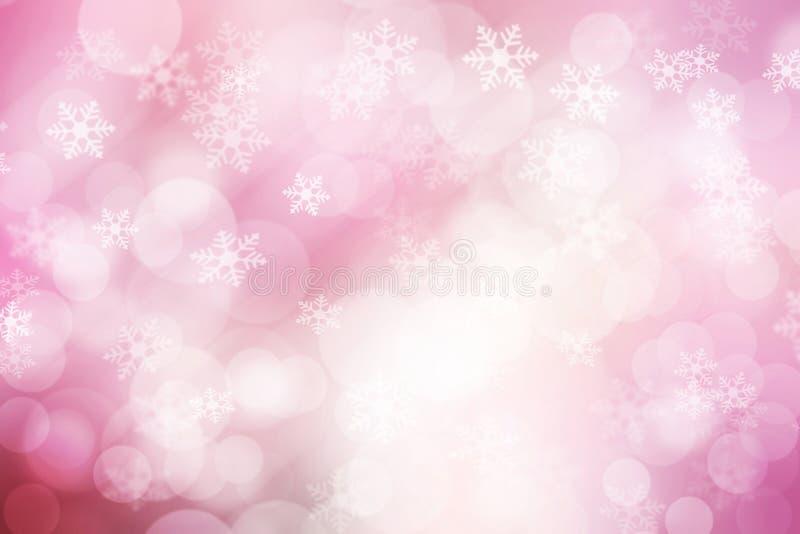 Samenvatting bokeh en de achtergrond van sneeuwvlokken, roze en wit royalty-vrije stock afbeelding