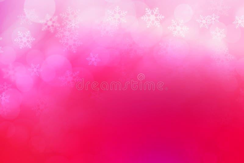 Samenvatting bokeh en de achtergrond van sneeuwvlokken, roze en wit stock foto's