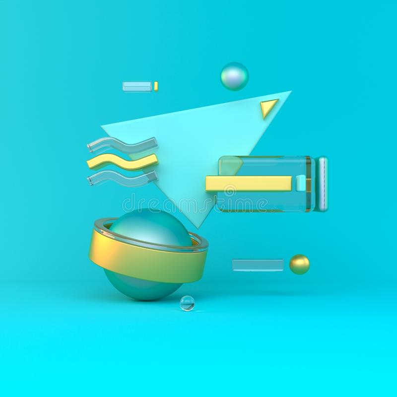 Samenvatting 3D van metaalvoorwerpen op violette achtergrond De illustratie van de voorraad vector illustratie