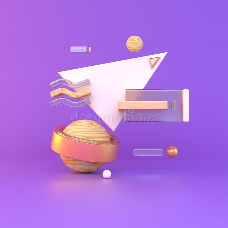 Samenvatting 3D van metaalvoorwerpen op violette achtergrond De illustratie van de voorraad stock illustratie