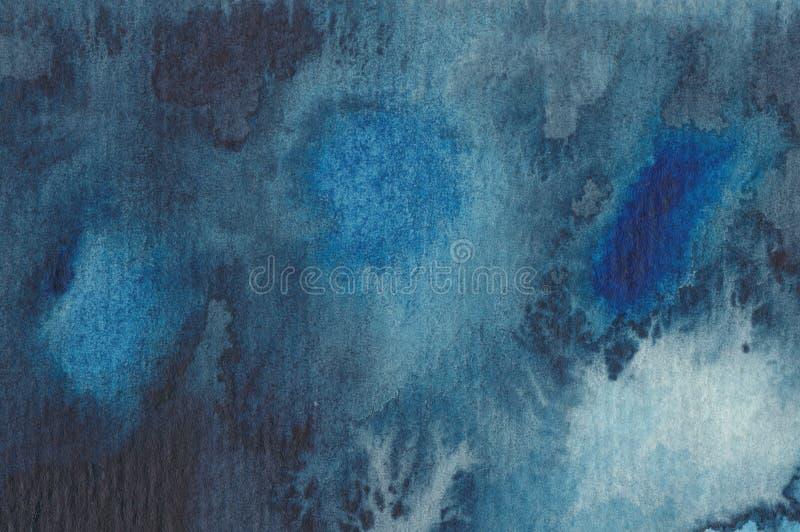 Samenvatting die watercolour in blauw schildert stock illustratie