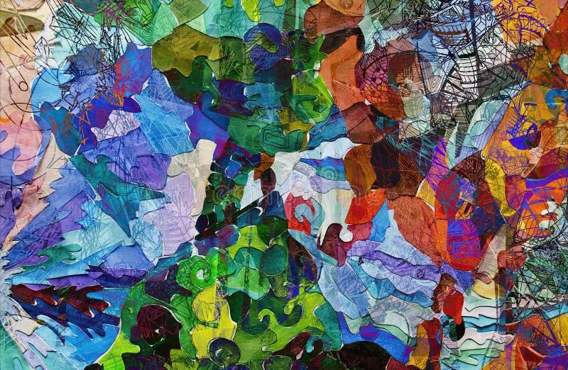 Samenvatting en kunst en verf en kleur royalty-vrije illustratie