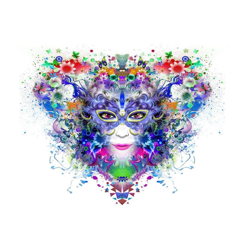 Samenvatting en mysticusvrouwengezicht in masker op de kleurrijke achtergrond van de hartvorm stock illustratie