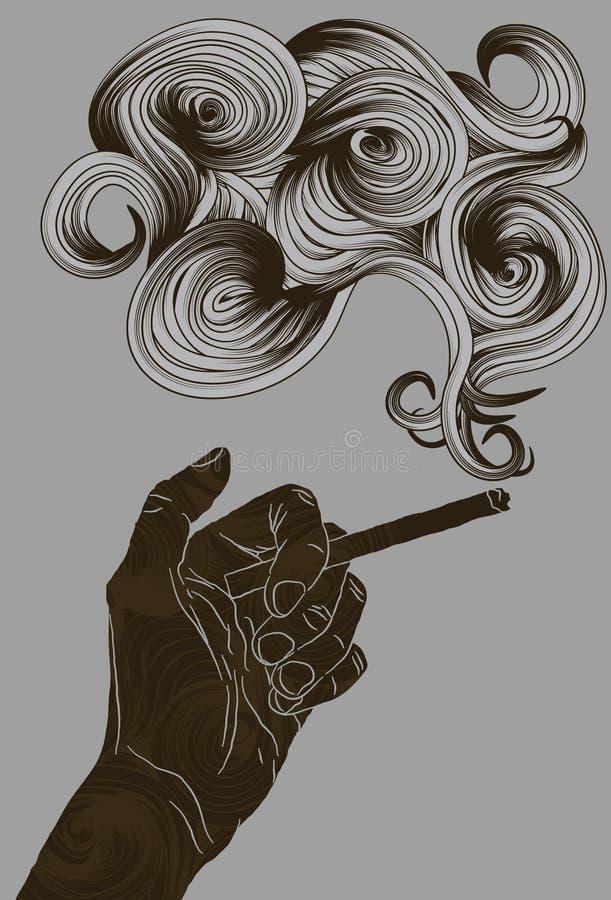 Samenvatting geïllustreerdee hand die een sigaret houdt royalty-vrije illustratie