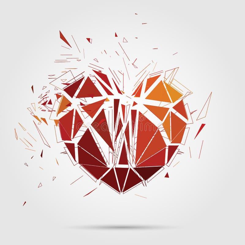 Samenvatting gebroken hart 3d vectorillustratie stock illustratie