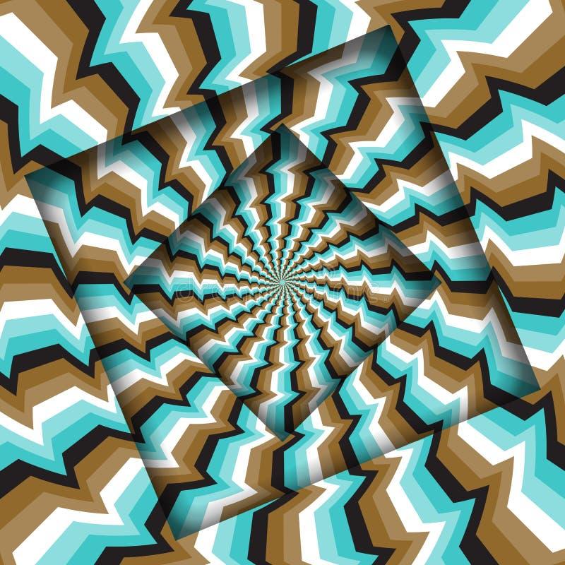 Samenvatting gedraaide kaders met een roterend bruin blauw glitch strepenpatroon De Achtergrond van de optische illusie stock illustratie