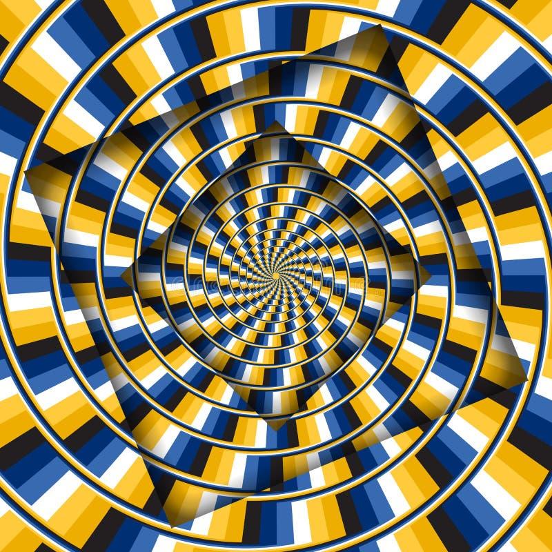 Samenvatting gedraaide kaders met een roterend geel blauw strepenpatroon Optische illusie hypnotic achtergrond royalty-vrije illustratie