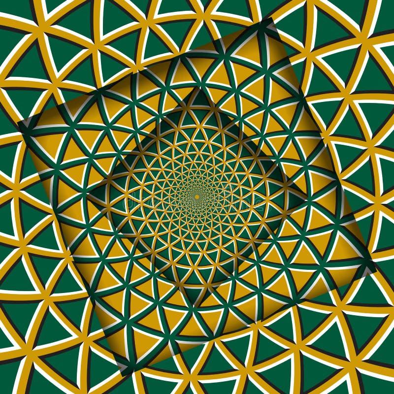 Samenvatting gedraaide kaders met een roterend groen geel driehoekenpatroon De Achtergrond van de optische illusie royalty-vrije illustratie