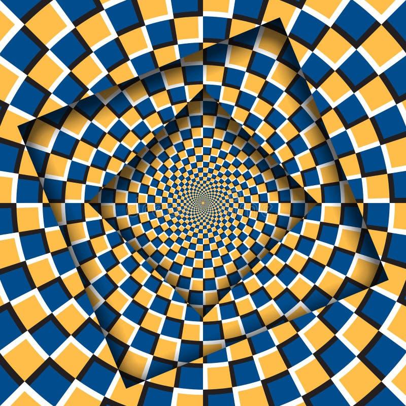 Samenvatting gedraaide kaders met een roterend oranje blauw geruit patroon De Achtergrond van de optische illusie stock illustratie
