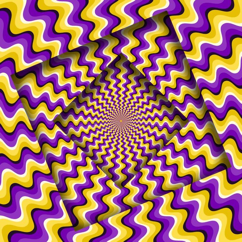 Samenvatting gedraaide kaders met een roterend purper geel golvend patroon De Achtergrond van de optische illusie royalty-vrije illustratie