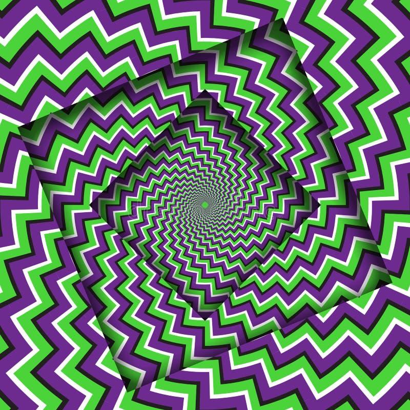 Samenvatting gedraaide kaders met een roterend purper groen patroon van zigzagstrepen Optische illusie hypnotic achtergrond stock illustratie