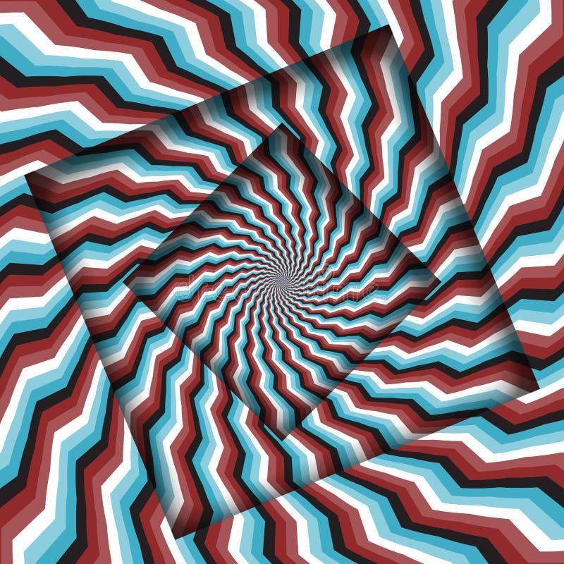Samenvatting gedraaide kaders met een roterend rood blauw strepenpatroon Optische illusie hypnotic achtergrond stock illustratie