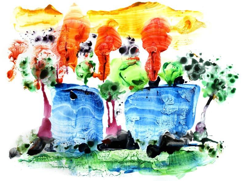 Samenvatting gekleurde backgrounds24 Multicolored achtergrond in gemengde technologie F wordt gemaakt dat royalty-vrije illustratie