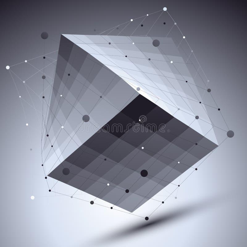 Samenvatting geregeld vector zwart-wit voorwerp met lijnennetwerk over D royalty-vrije illustratie