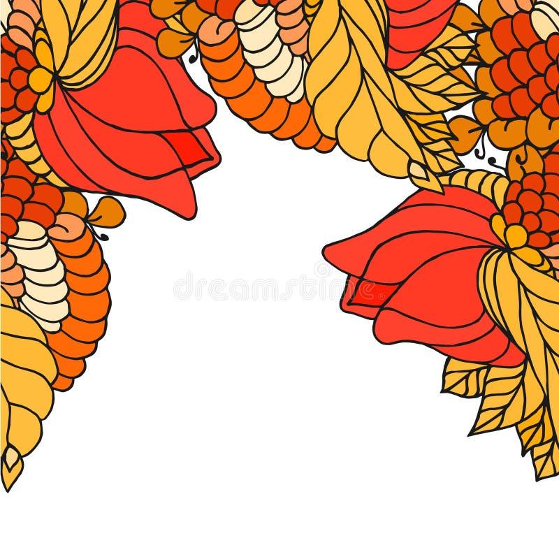 Samenvatting geschilderde grens met het grote art. van bloemenzen royalty-vrije illustratie