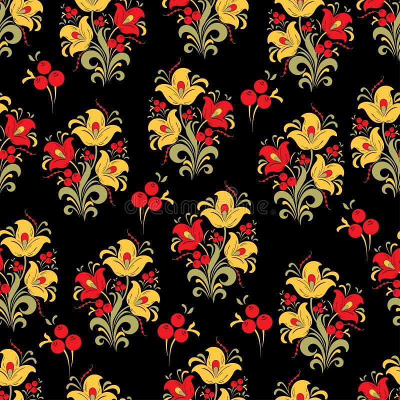 Samenvatting gestileerd bloem naadloos patroon, vectorachtergrond Rode, gele, groene decoratieve bloem, bessen en krullen op zwar royalty-vrije illustratie