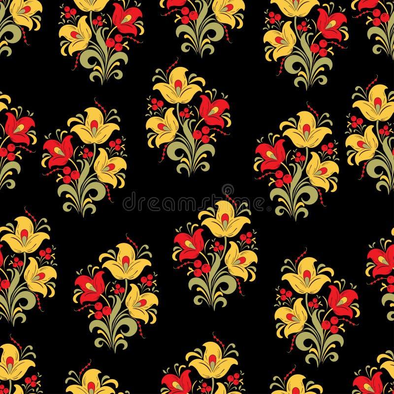 Samenvatting gestileerd bloem naadloos patroon, vectorachtergrond Rode, gele, groene decoratieve bloem, bessen en krullen op zwar stock illustratie