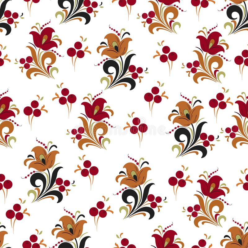 Samenvatting gestileerd bloem naadloos patroon, vectorachtergrond Rode, oranje, groene en zwarte decoratieve bloem, bessen en kru royalty-vrije illustratie