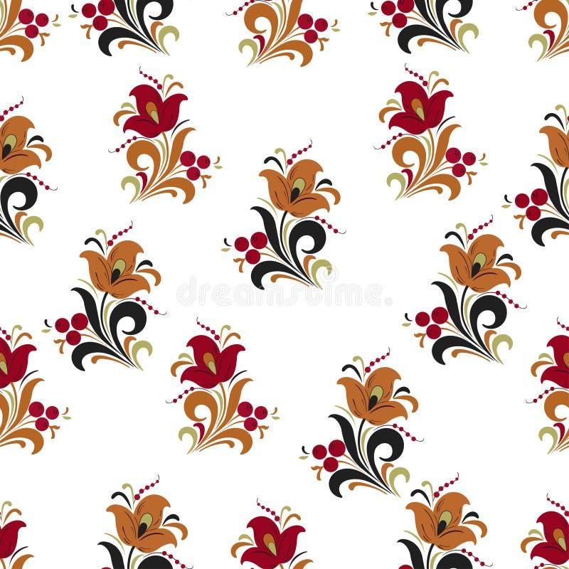 Samenvatting gestileerd bloem naadloos patroon, vectorachtergrond Rode, oranje, groene en zwarte decoratieve bloem, bessen en kru stock illustratie