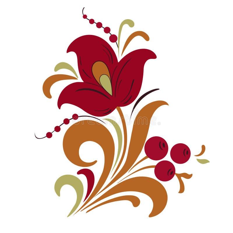Samenvatting gestileerde bloem, vectorillustratie, het trekken Decoratieve bloem in rode, oranje en groene kleuren, knop, stam, b royalty-vrije illustratie
