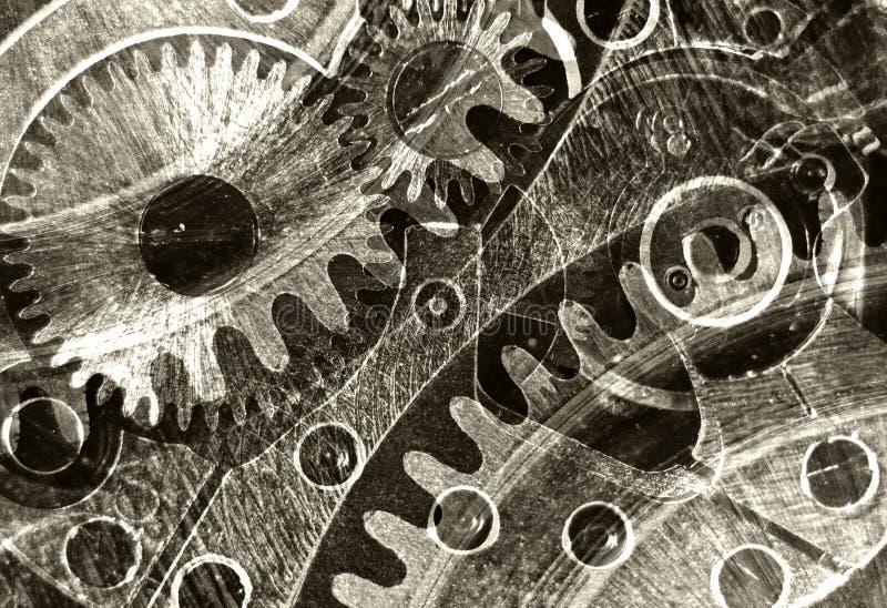Samenvatting gestileerde collage van een mechanisch apparaat stock afbeelding