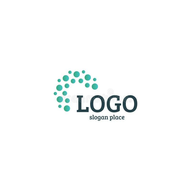 Samenvatting gestippeld vectorembleemmalplaatje Het diverse algemene begrip isoleerde ongebruikelijke logotype stock illustratie
