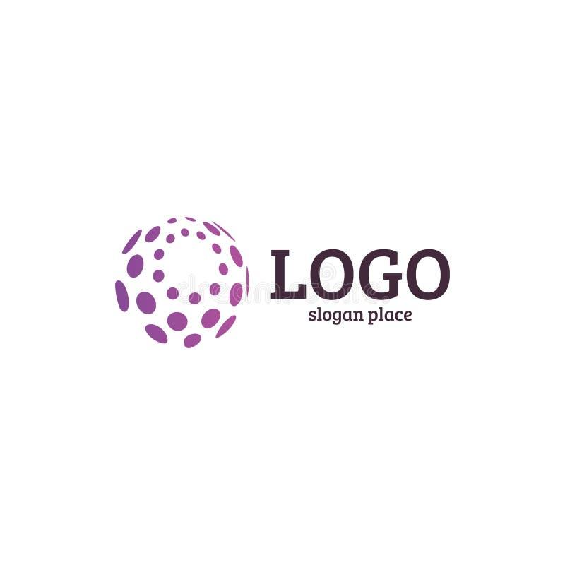 Samenvatting gestippeld vectorembleemmalplaatje Het diverse algemene begrip isoleerde ongebruikelijke logotype vector illustratie