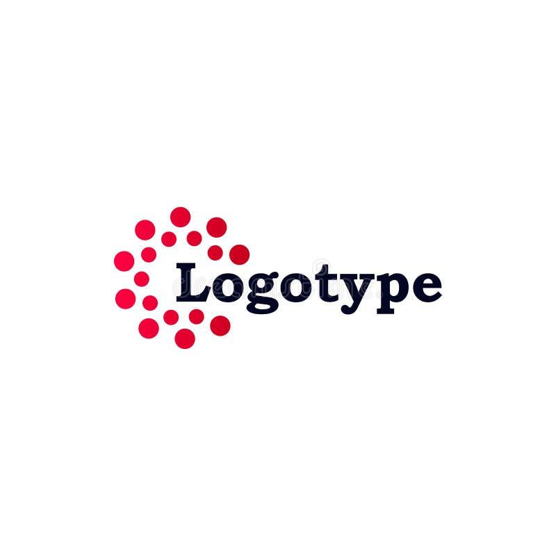 Samenvatting gestippeld vectorembleemmalplaatje Het diverse algemene begrip isoleerde ongebruikelijke logotype royalty-vrije illustratie