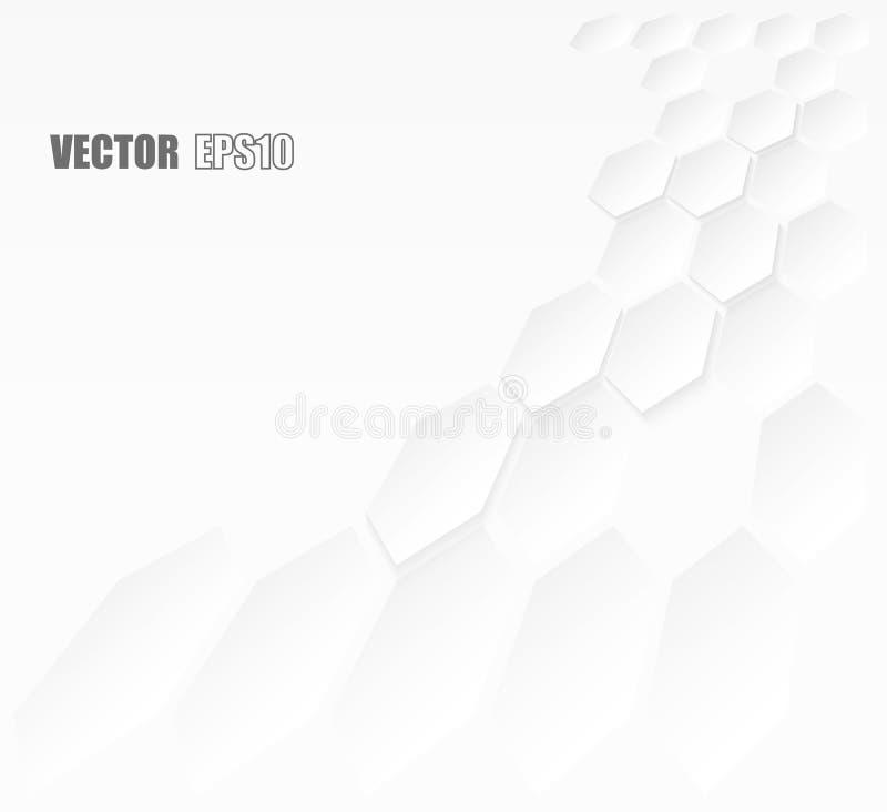 Samenvatting Hexagon geometrisch document witte Achtergrond, licht en schaduw Vector royalty-vrije stock afbeelding