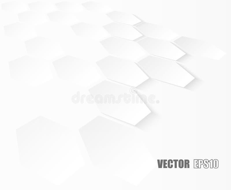 Samenvatting Hexagon geometrisch document witte Achtergrond, licht en schaduw Vector stock fotografie