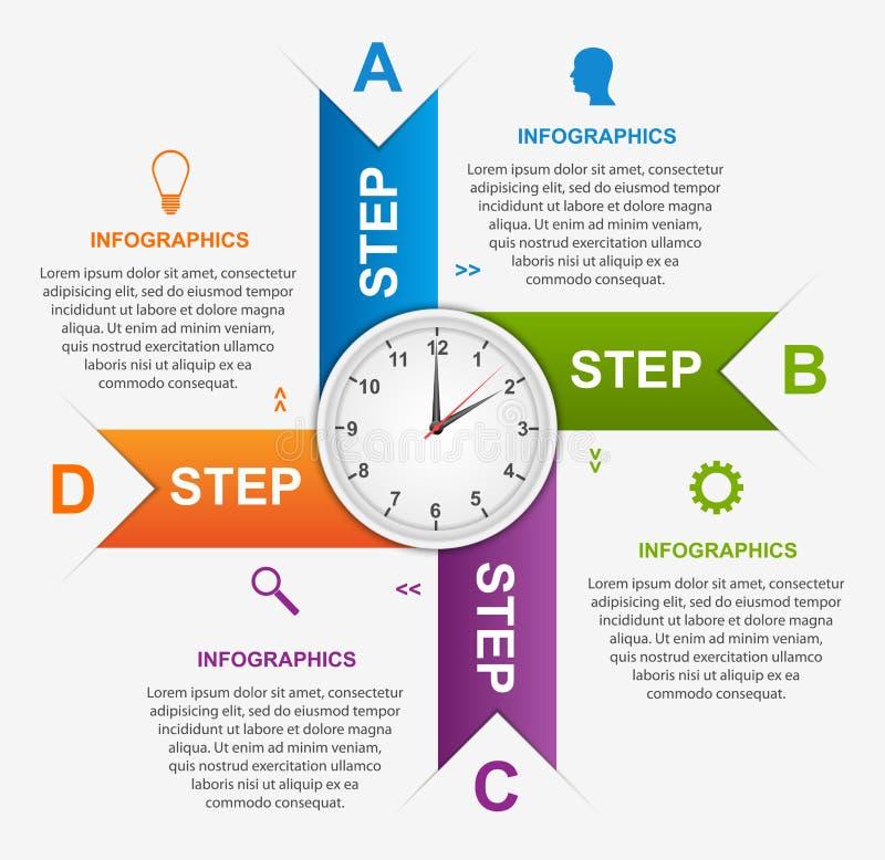 Samenvatting infographic met kleurrijke pijlen en klok in het centrum Het malplaatje van het ontwerp stock illustratie