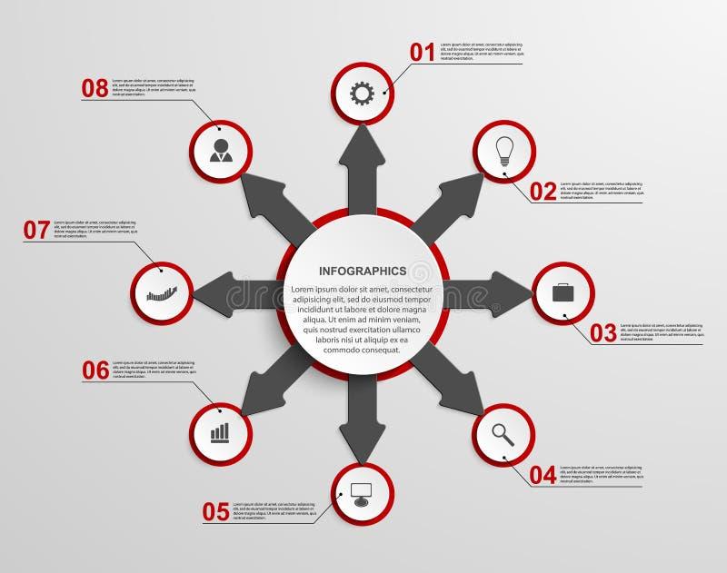 Samenvatting infographic met pijlen Het element van het ontwerp royalty-vrije illustratie