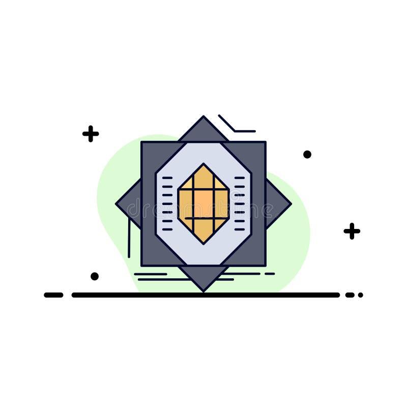Samenvatting, kern die, vervaardiging, vorming, de Vlakke Vector van het Kleurenpictogram vormt stock illustratie