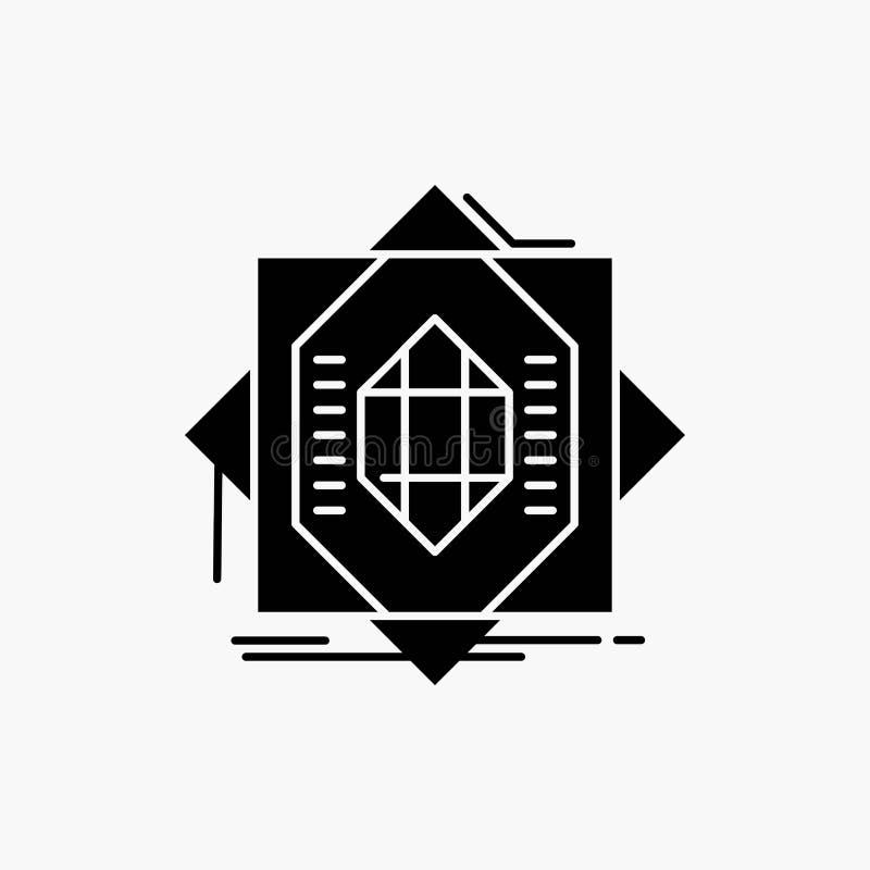 Samenvatting, kern die, vervaardiging, vorming, Glyph-Pictogram vormen Vector ge?soleerde illustratie stock illustratie