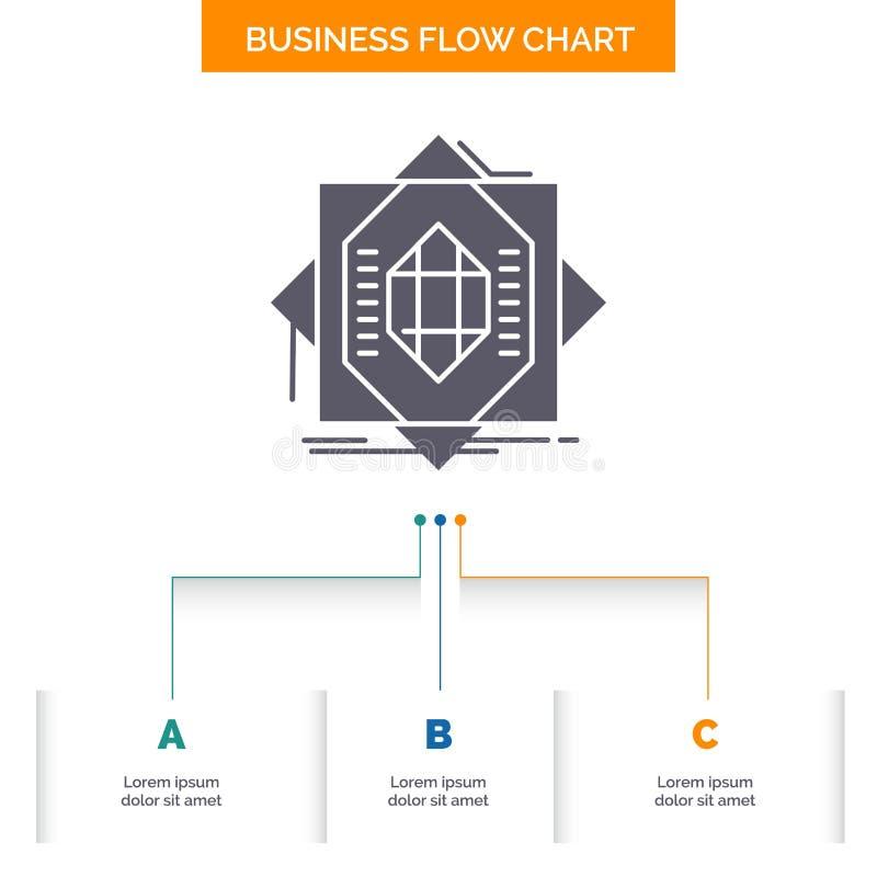 Samenvatting, kern die, vervaardiging, vorming, het Ontwerp van de Bedrijfsstroomgrafiek met 3 Stappen vormen Glyphpictogram voor vector illustratie