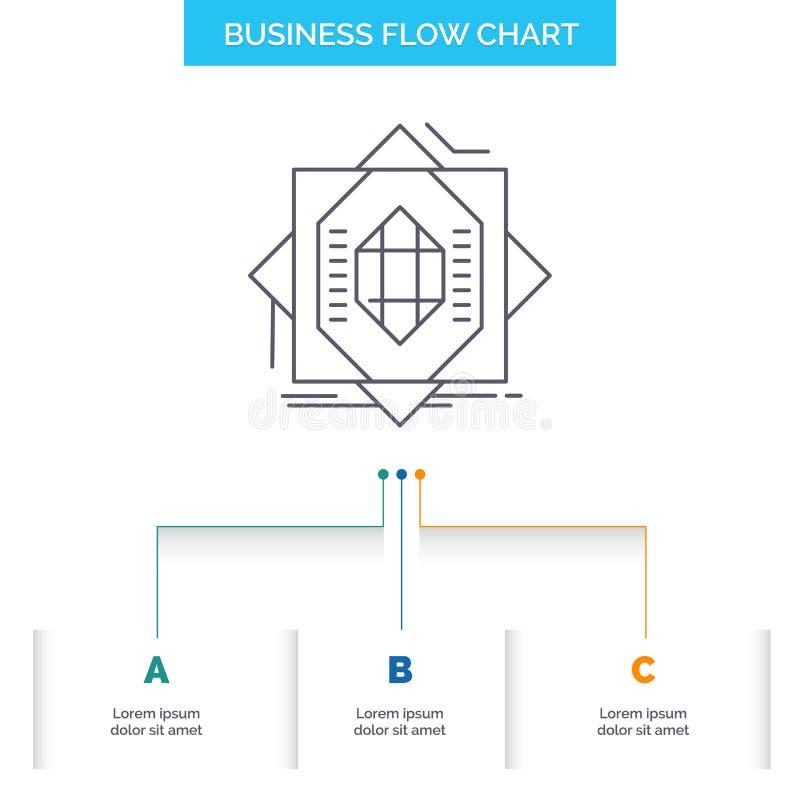 Samenvatting, kern die, vervaardiging, vorming, het Ontwerp van de Bedrijfsstroomgrafiek met 3 Stappen vormen Lijnpictogram voor  royalty-vrije illustratie