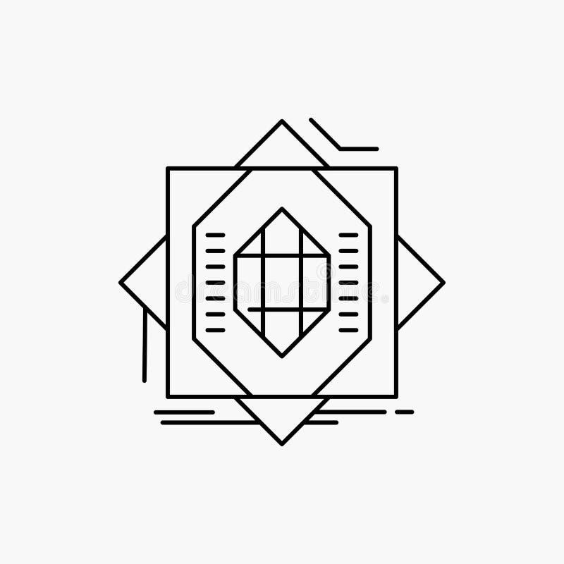 Samenvatting, kern die, vervaardiging, vorming, Lijnpictogram vormt Vector ge?soleerde illustratie vector illustratie