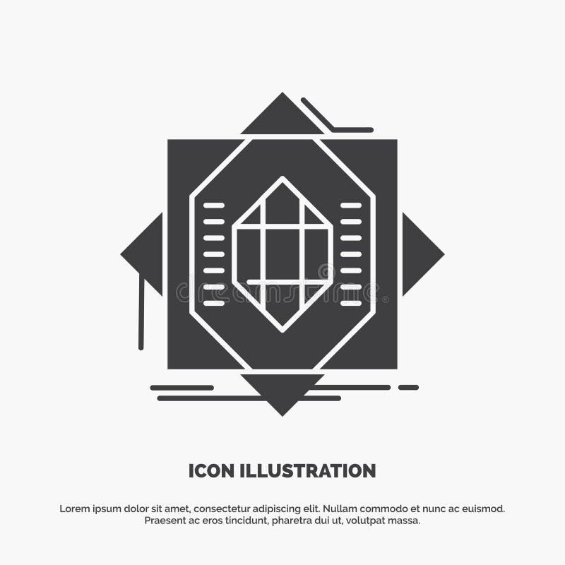 Samenvatting, kern die, vervaardiging, vorming, Pictogram vormen glyph vector grijs symbool voor UI en UX, website of mobiele toe vector illustratie