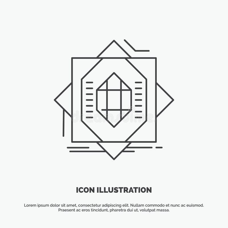Samenvatting, kern die, vervaardiging, vorming, Pictogram vormen Lijn vector grijs symbool voor UI en UX, website of mobiele toep royalty-vrije illustratie