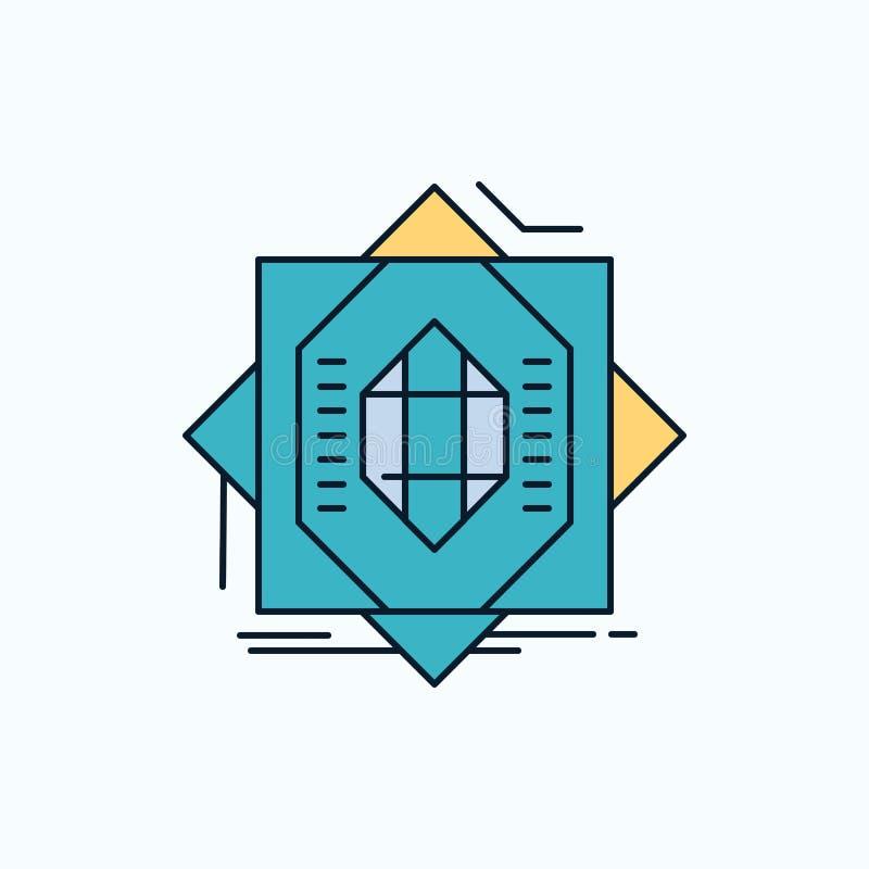 Samenvatting, kern die, vervaardiging, vorming, Vlak Pictogram vormen groene en Gele teken en symbolen voor website en Mobiele ap stock illustratie